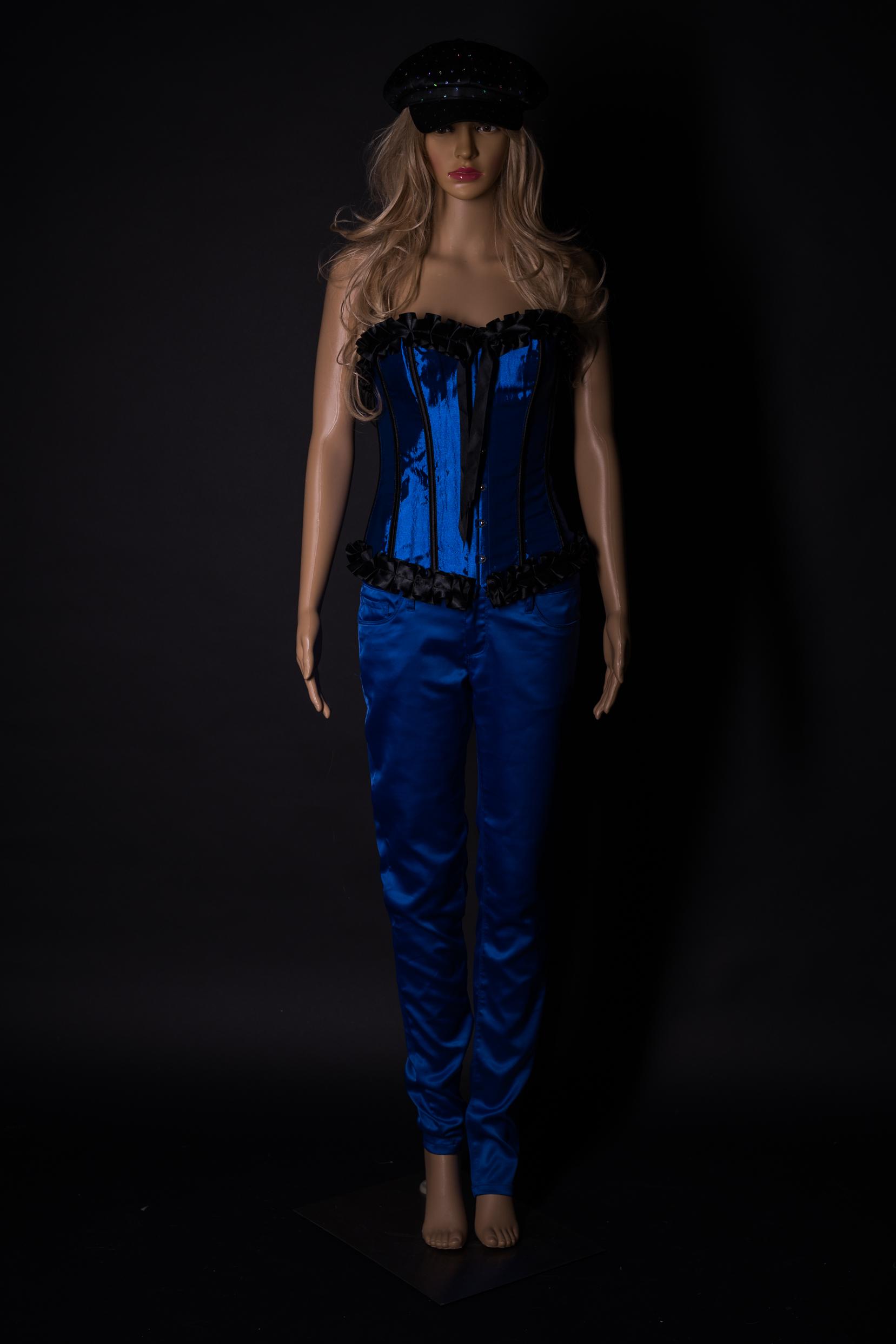 KOrsage Outfit in Royalblau mit pasender Satinhose